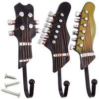 Guitarra em forma de ganchos decorativos do vintage cabides rack para pendurar roupas casacos toalhas chaves chapéus de metal resina ganchos fixado na parede ele Ganchos e trilhos     -