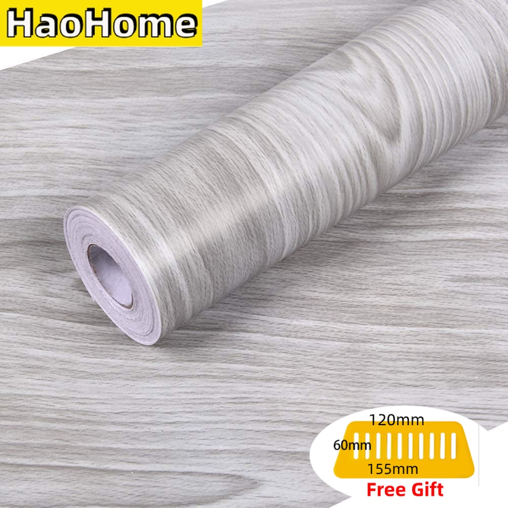 HaoHome Gray Wood Grain Peel and Stick Wallpaper Wood Shlef Liner Removable Contact Paper Self Adhesive Grey Wall Covering