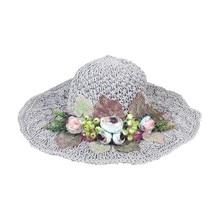 Signes Grimalt By SIGRIS hat flowers Gray fashion caps and visors