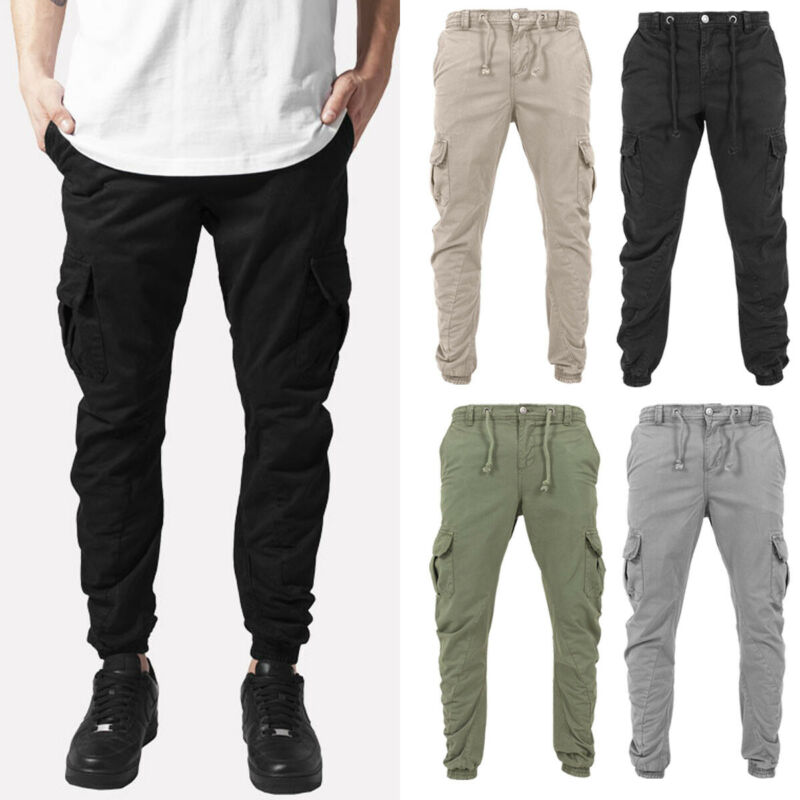 Casual Mens Cargo Combat Work Trousers Pockets Chino Cotton Pants Work Wear Jeans Size 30-44 Clothing