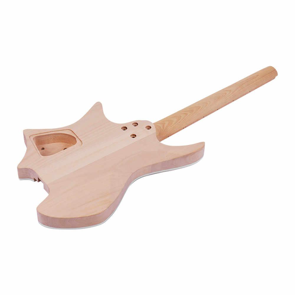 Muslady لم تنته الغيتار الجسم لتقوم بها بنفسك طقم جيتار كهربائي الزيزفون الجسم خشب القيقب الأصابع الغيتار الرقبة دون أغطية الرأس جديد