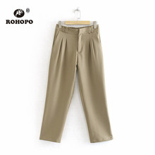 ROHOPO Ankle Length Khaki Solid Pant Autumn Office Ladies Pencil Chic Trousers Bottom #6142