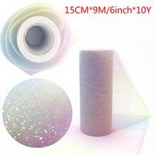 10Yard/rulo gökkuşağı Glitter tül rulo pullu kristal organze Sheer kumaş DIY zanaat hediye Tutu etek ev düğün dekorasyon