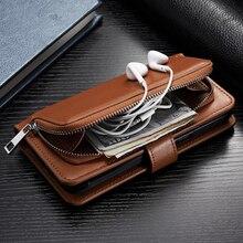 Кожаный чехол кошелек на молнии для iPhone 11 Pro Max XS XR 6S Plus 7 8 X SE 2020, откидная крышка, съемная магнитная застежка, сумка