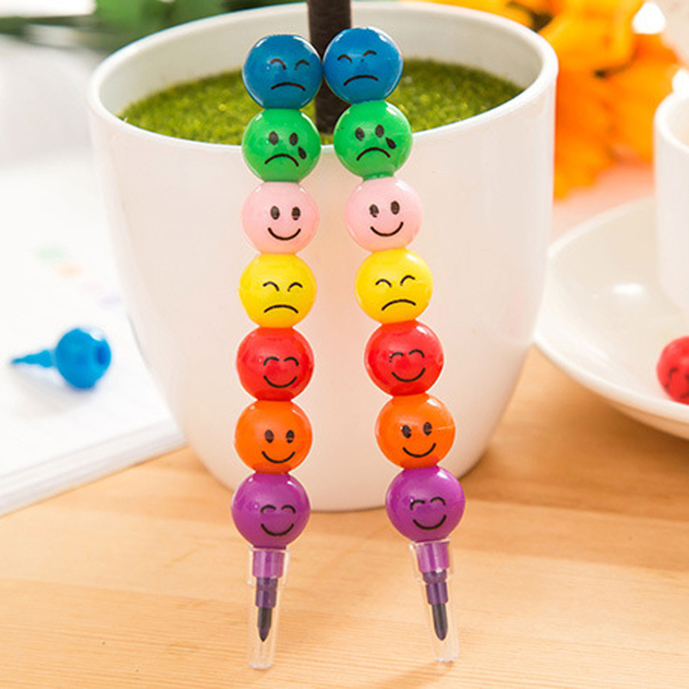 7 Colors Coloured Pen Cute Stacker Swap Smile Face Crayons Children Drawing Gift School Office Painting Tool Supplies