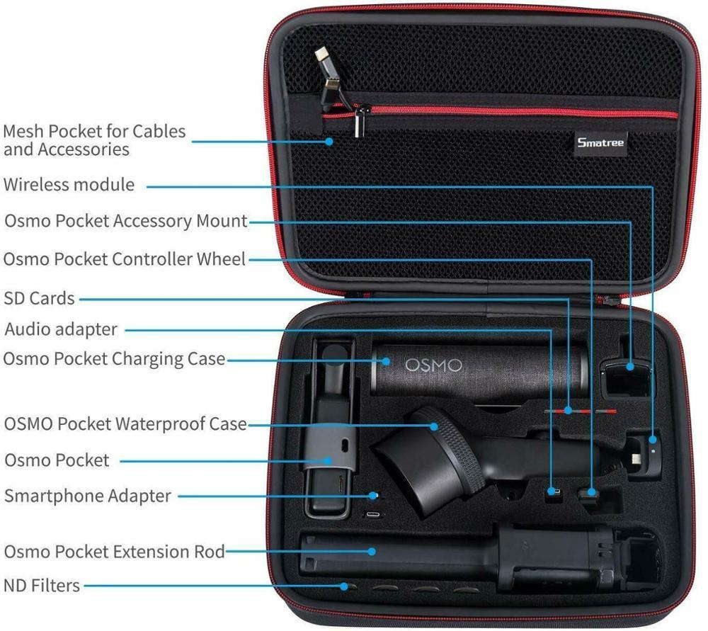 Image 2 - Smatree Waterproof Hard Carrying Case Portable Storage Bag for  DJI Osmo Pocket Extension Rod, Osmo Pocket Waterproof CaseCamera/Video  Bags