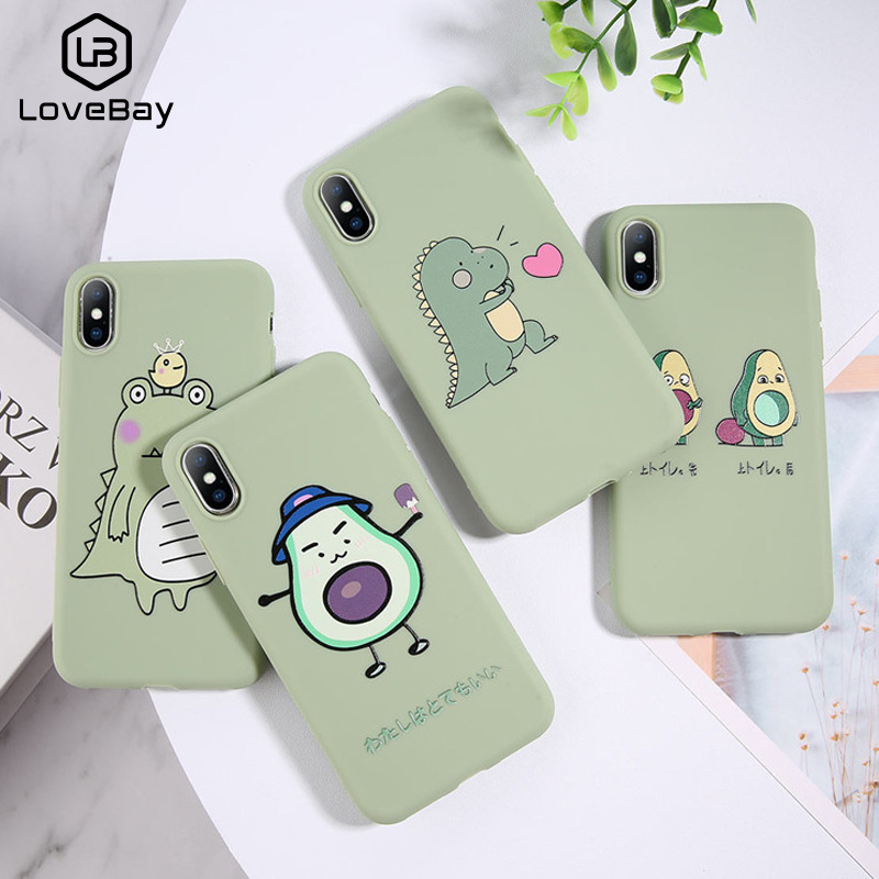 Lovebay Cartoon Lovely Dinosaur Avocado Case For IPhone 11 Pro Max X 7 7plus 8 8plus XR XS Max 5 5S SE 6S 6Plus Covers Soft TPU