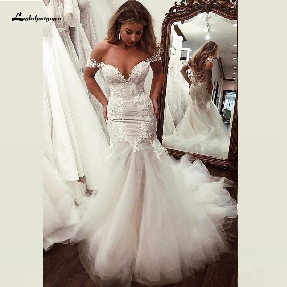 2020 Flare Tulle Wedding Gown With Illusion Lace Bodice Sexy Mermaid Wedding Dresses Long Train Bridal Gown Off The Shoulder