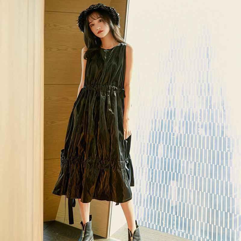 [EAM] женское черное плиссированное платье с оборками на шнурке новое платье с круглым вырезом без рукавов свободное платье Мода Tide весна осень 2019 YG170