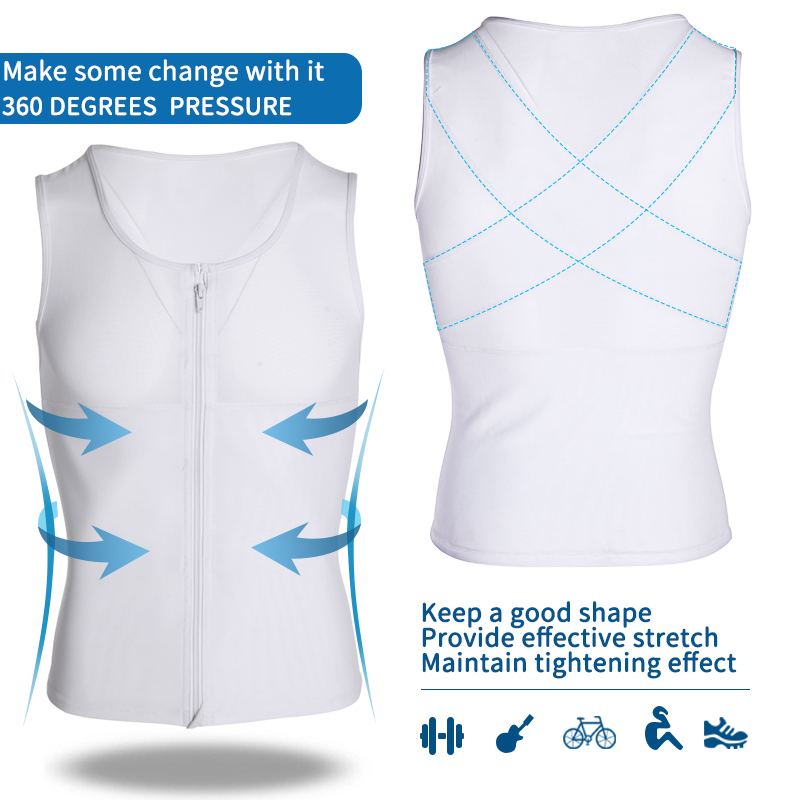 Image 4 - Mens Slimming Body Shaper Gynecomastia Compression Shirts Tummy Control Shapewear Chest Abs Slim Vest Waist Trainer Male Corset-in Shapers from Underwear & Sleepwears
