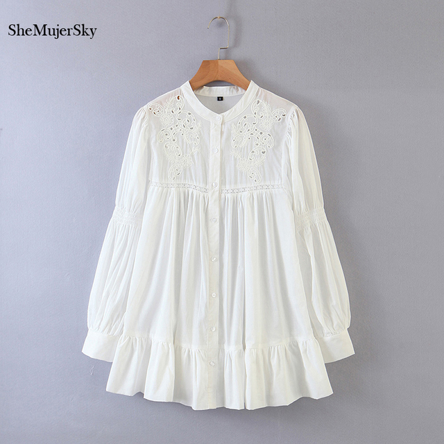 SheMujerSky White Embroidery Hollow Out Blouse Autumn O-neck Long Sleeve Tops 2020 Spliced Buttons Long Shirts blusas 1