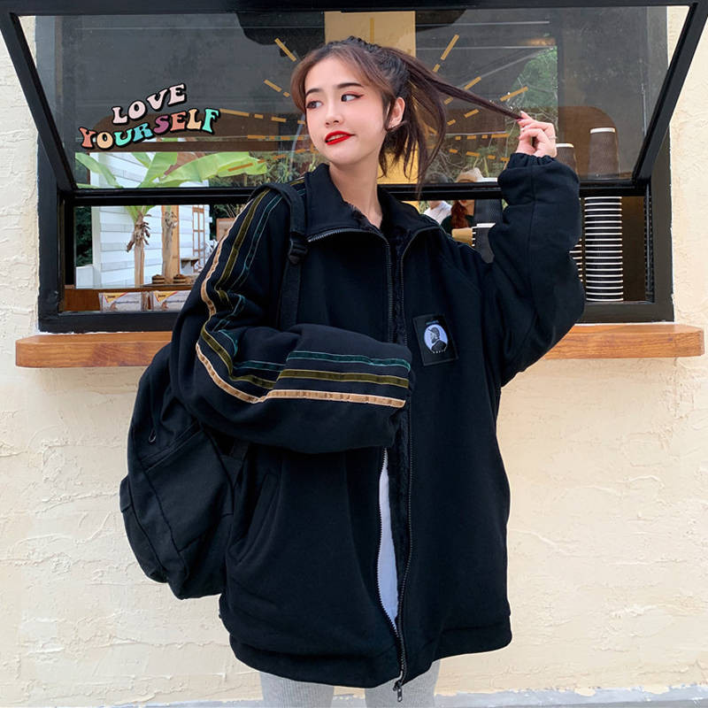 Autumn Japan Oversize Jacket Women Coat Harajuku Loose Bomber Streetwear Casual Basic Coat Spring Black Loose Jacket Females