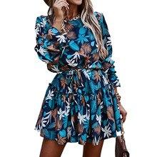 Delle donne di Autunno Increspature Stampa Floreale Vestito Casual A Maniche Lunghe Sciolto Fiocchi E Fasce UNA Linea Vestito Femminile Blu Boho Mini Partito Abiti 2020