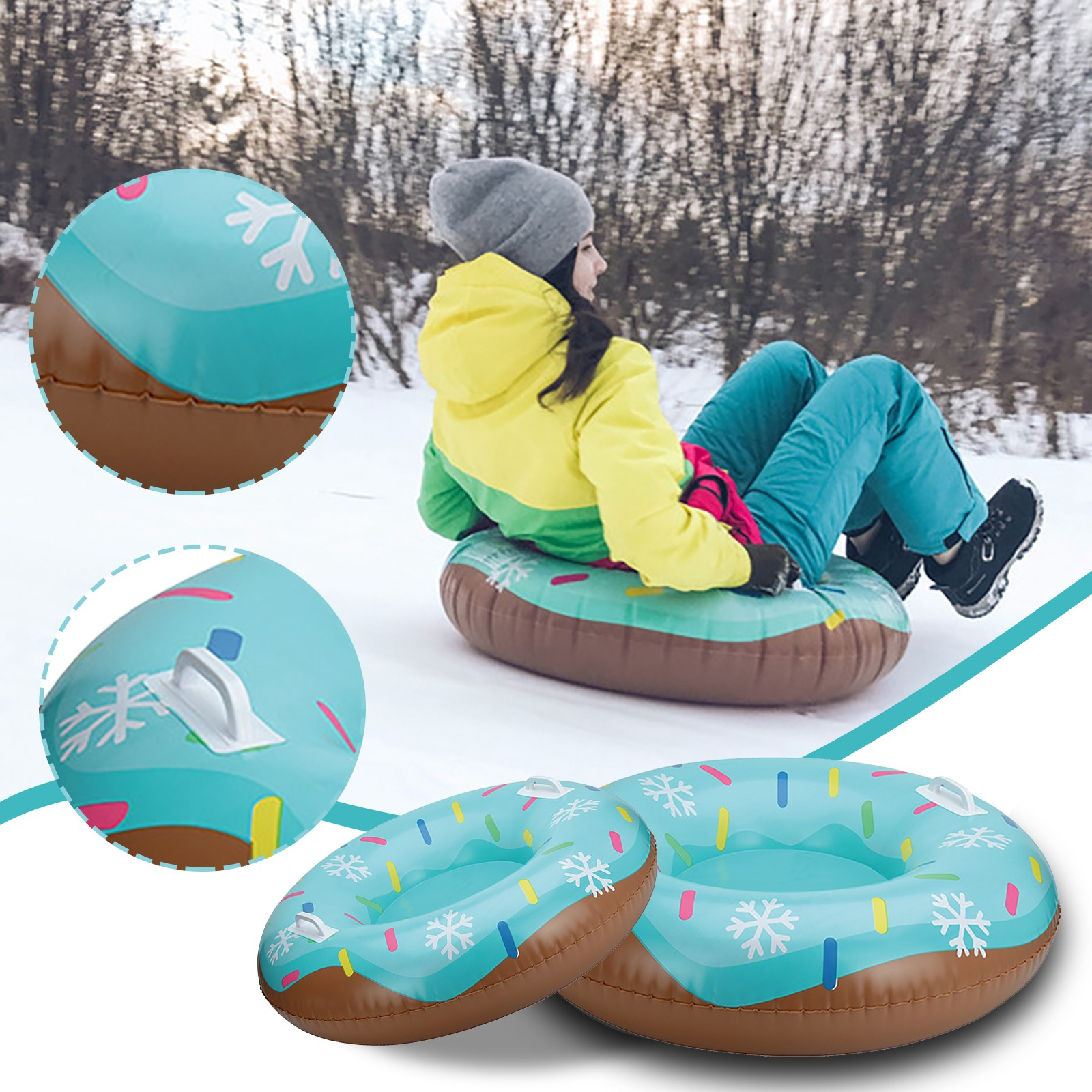 Inflatable ski ring Skiing Ring PVC Snow Sled Tire Tube for Kid Ski Pad Outdoor Sports With Handle Inflatable ski ring