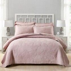 CHAUSUB الوردي المفرش مجموعة لحاف و وسادة شمس 3 قطع المطرزة القطن لحاف غطاء السرير الملك الملكة حجم مبطن أغطية