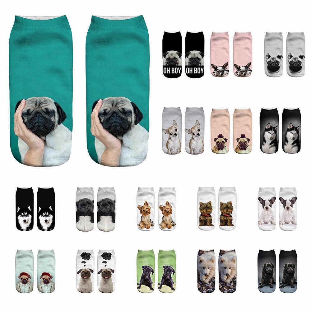 Engraçado unisex meias curtas 3d cão impresso anklet meias menina estampado casual meias femininas curto arte engraçado sox calcetas mujer # w3