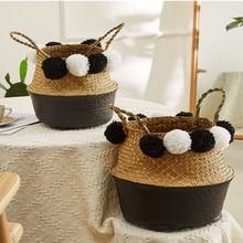 Handmade Wicker Storage Baskets Foldable Laundry Straw Patchwork Rattan Seagrass Belly Garden Flower Pot Planter Basket
