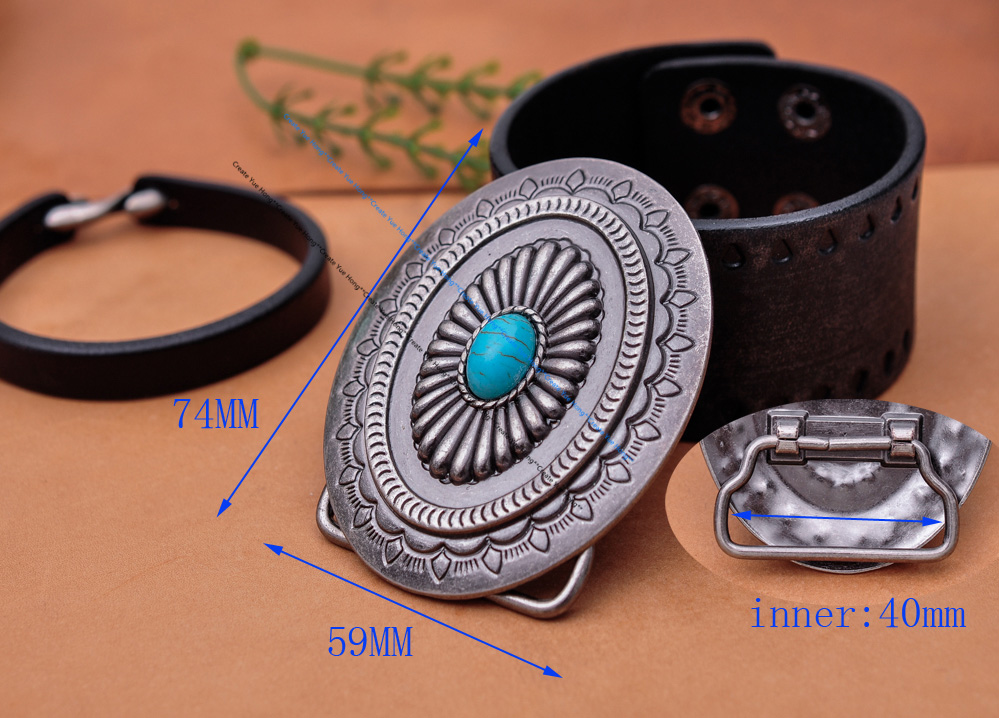 Vintage Silver America Southwest Tribal Traditional Floral Turquoise Men's Huge Leather Belt Buckle Fits 40MM Belt Strap