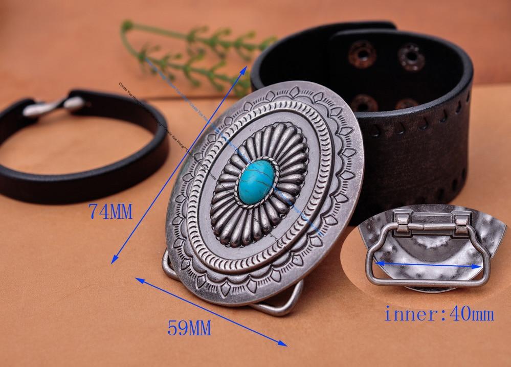 Vintage Silver America Southwest Tribal Traditional Floral Turquoise Men's Huge Leather Belt Buckle Fits 40MM Belt Strap