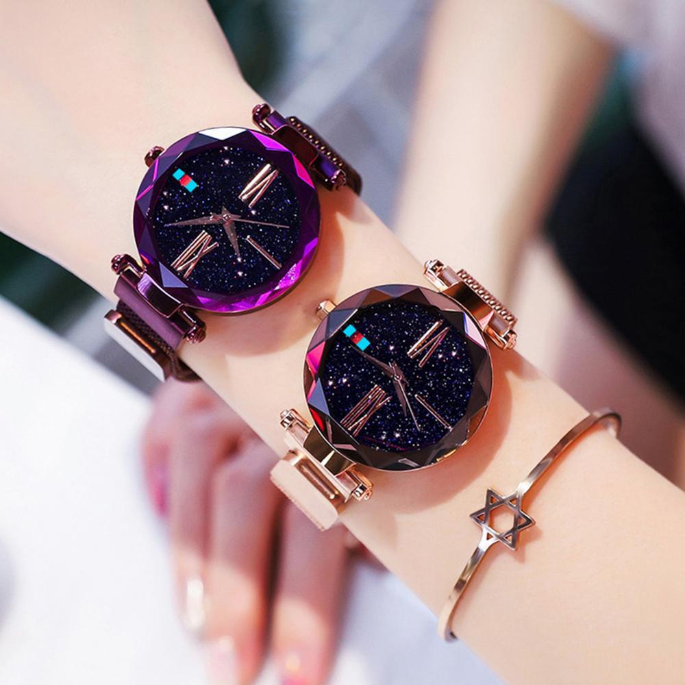 2019 Fashion Ladies Watch Women Quartz Watches Luxury Starry Sky Magnetic Female Watch Stainless Steel Wirstwatch Zegarek Damski