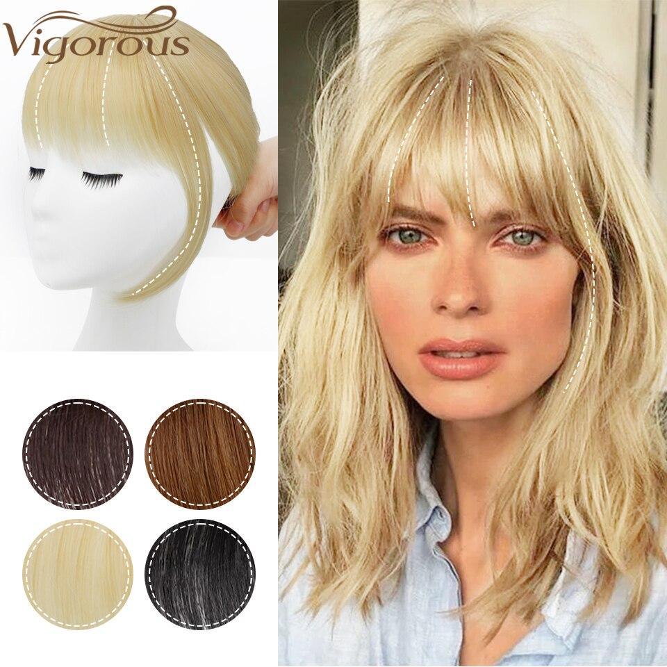 Vigorous Synthetic 3D Bang Hair Piece Clip In Hair Extension Fake Fringes Bang Women Natural French Bangs Clip on Bangs