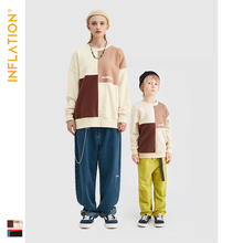INFLATION Family Matching Sweatshirt 2019 Autumn Father Son Outerwear Patchwork Casual