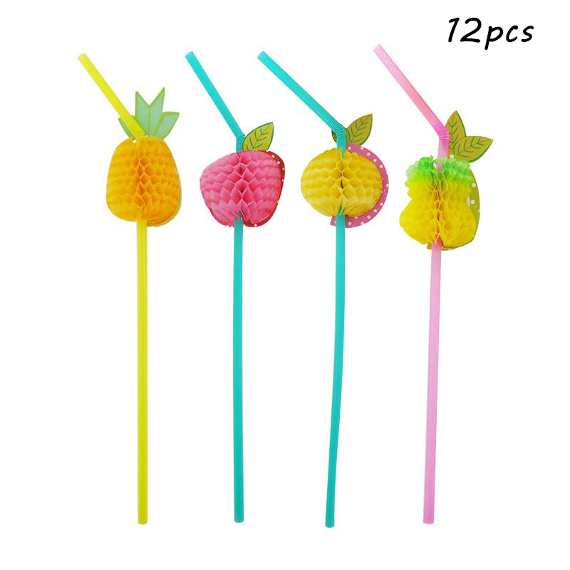 Image 3 - 20pcs Disposable Flamingo Pineapple Plastic Straws Fun Colorful Cocktail Drinking Straw Hawaii Summer Beach Luau Party Supplies-in Disposable Party Tableware from Home & Garden