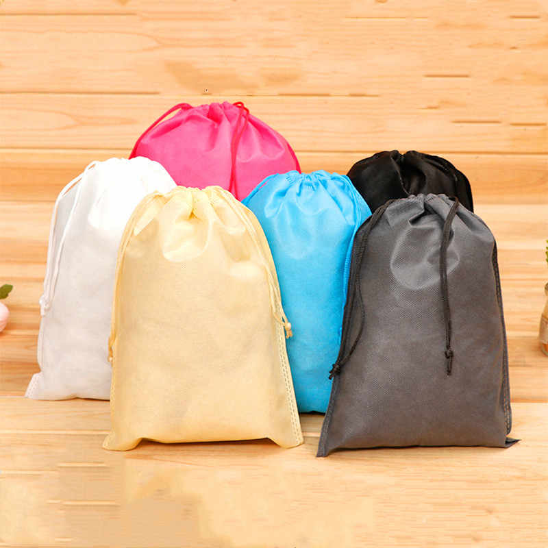 Waterproof Portable Carry Sack   Non-woven Shoe Pocket Storage Organize Bag  Draw Pocket Drawstring Dust  Bags Toiletry Bag Case
