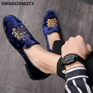 Image 5 - 정장 구두 남성 클래식 이탈리아 브랜드 남성 파티 신발 Coiffeur 자수 남성 정장 구두 로퍼 Sepatu Slip On Pria 48 Bona