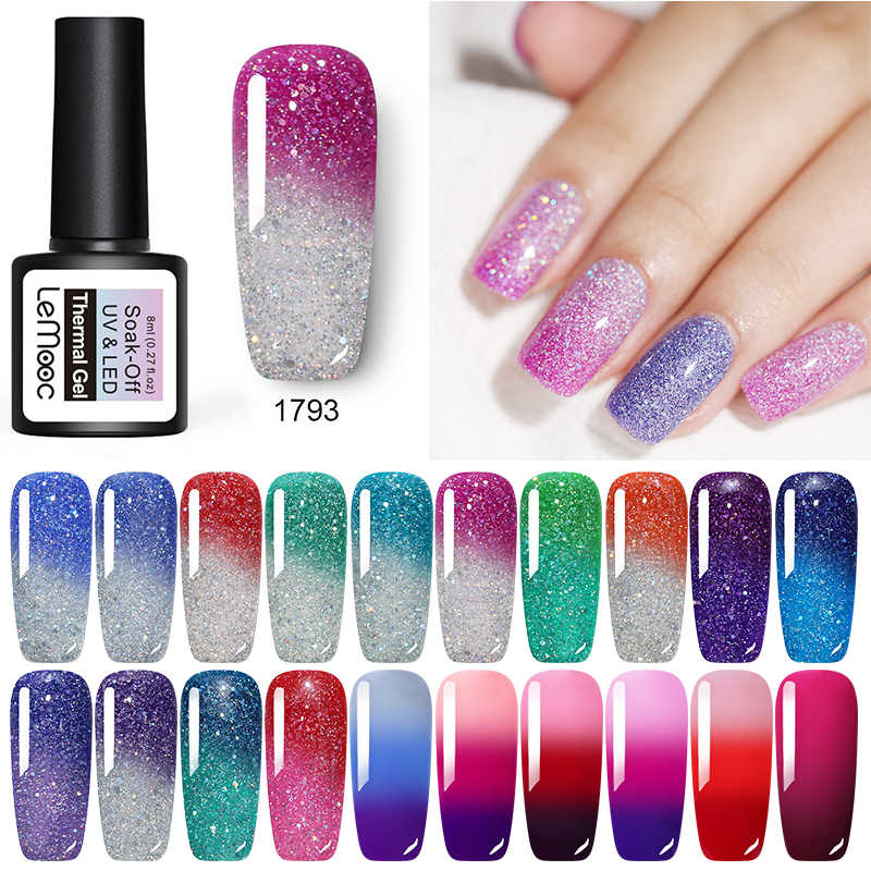 LEMOOC 8ml Thermal Glitter Gel Rendam Off UV Gel Polandia Suhu berubah Warna UV Gel Varnish Base Top mantel Nail Art pernis