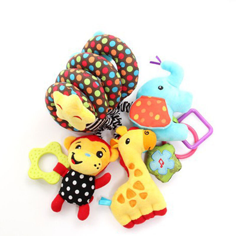 Cute Baby Plush Wall Toy Stuff Spiral Soft Toy Pram Car Stroller Hanging Toy Seat Cot Crib Activity Rattle Plush Toys Gift