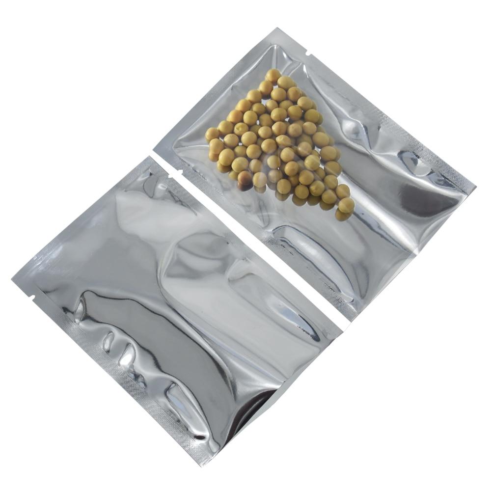 10x15cm Open Top Silver Aluminium Foil Clear Plastic Pack Bag Vacuum Pouches Heat Seal Party Gift 200pcs/lot Food Storage