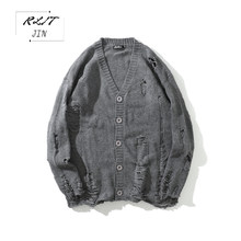 RLJT.JIN 2019 Harajuku New Young Mens Pure Color Ripped Style Fashion Cardigan Sweater High Street Long Loose Coat Sweaters(China)