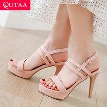 QUTAA 2020 النساء مضخات أحذية الحفلات منصة بولي Leather جلد رقيقة عالية الكعب أحذية الزفاف مضخات اللمحة تو النساء الصنادل حجم 34 43