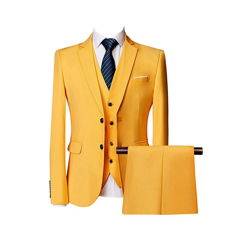 Solovedress Solid Men Suit Notched Lapel 3 Pieces Fashion Wedding Groom Jacket Pants Vest Single Breasted Tuxedos 100% New