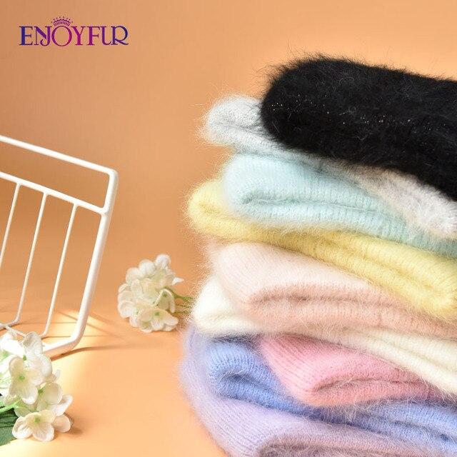 ENJOYFUR Winter hats for women warm long rabbit fur hair female caps fashion solid colors wide cuff young style beanies 6