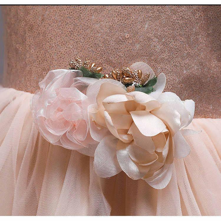Vestido de flores de lentejuelas de champán para niña vestido de princesa de boda con tutú de encaje vestido de fiesta para niños vestidos para niñas
