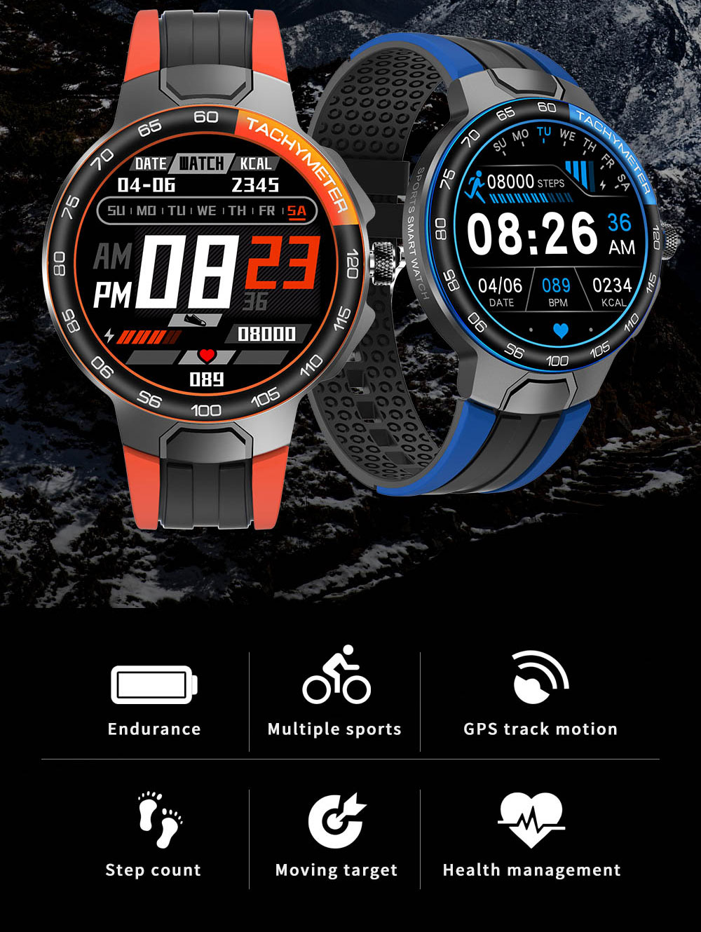 Hd2d49bf78e4c4a2ea73018702d7bc2f4O Smart Watch Men Women IP68 Waterproof Bluetooth 5.0 24 Exercise Modes Smartwatch E1-5 Heart Rate Monitoring for Android Iosr A