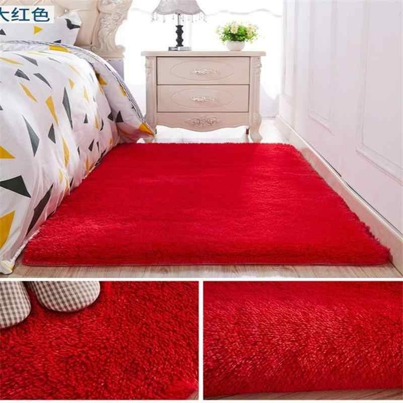 50 Dicuci Sutra Rambut Non-Slip Karpet Ruang Tamu Meja Kopi Selimut Kamar Tidur Samping Tempat Tidur Tikar Yoga Karpet Warna Solid mewah