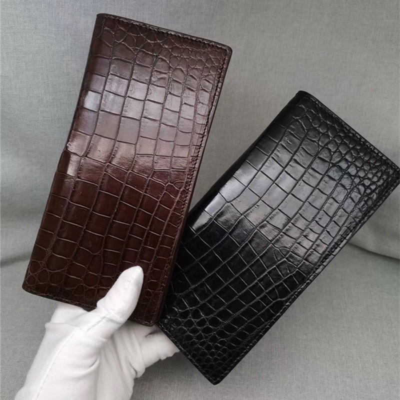 Authentic Crocodile Belly Skin Men's Long Wallet Card Holder Suit Purse One-piece Genuine Alligator Leather Male Clutch Wallet