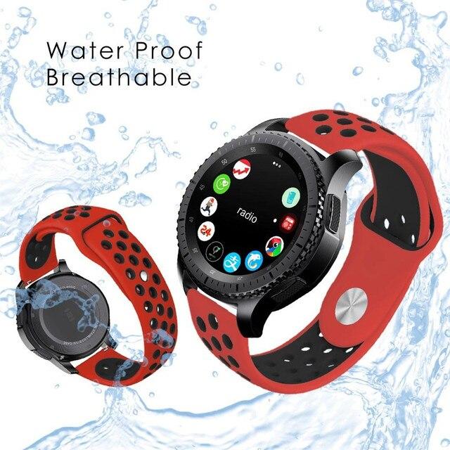 Bracelet en Silicone 22mm pour montre galaxie 46mm bracelet de sport de haute qualité pour Samsung Gear S3 Frontier/montre Huawei classique Gt GT2e