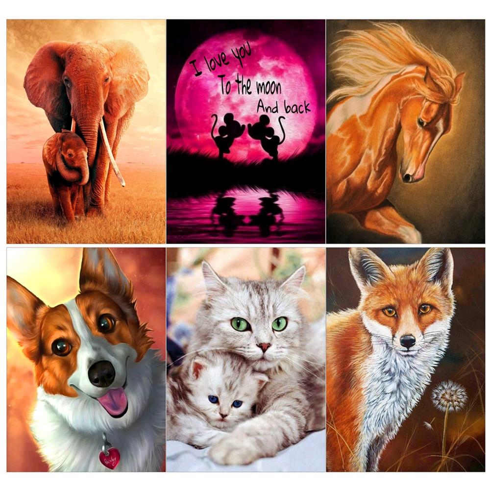 Volle kreis 5D diamant malerei tier, elefanten, pferd, katze, hund, fuchs DIY diamant stickerei anzug für home dekoration