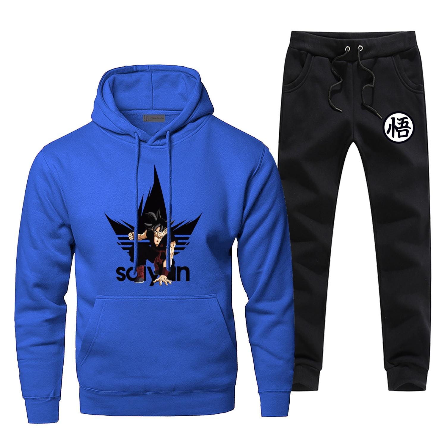Brand Man Tracksuit Dragon Ball Z Men's Sets Super Saiyan Print Men's Jogging Japan Anime Male Set Harajuku Fleece Hoodies Pants