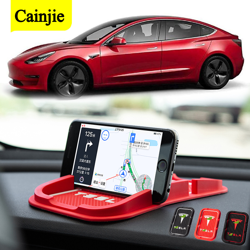 Phone Mat Anti-skid Silicone Mat For Tesla Dashboard Non Slip Pad Car Accessories GPS Phone Holder For iPhone Samsung Huawei