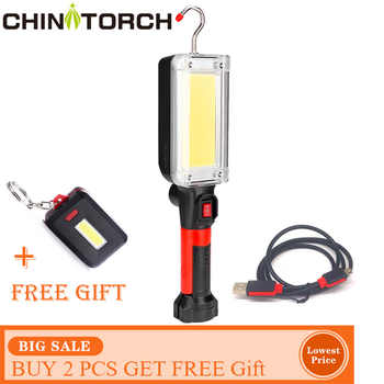 NEW LED Work Flashlight USB Charging Magnetic Hook Clip Torch Light 20W COB Portable Spotlight Outdoor Camping Worklight Lamp - DISCOUNT ITEM  50% OFF All Category