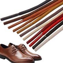 1 par encerado algodão sapato redondo atacadores de couro à prova dwaterproof água cadarços homens martin botas cadarço comprimento 80cm 100cm 120cm