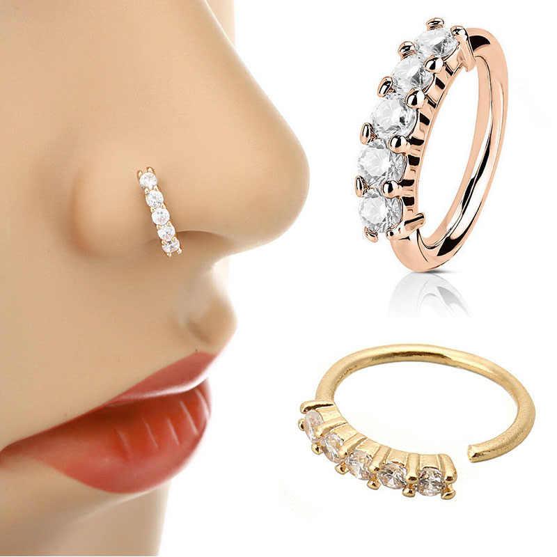 1 adet Piercing burun halkası genişletici dikişsiz Segment kulak burun çemberler altın renk Cz Tragus kıkırdak küpe burun göbek takısı