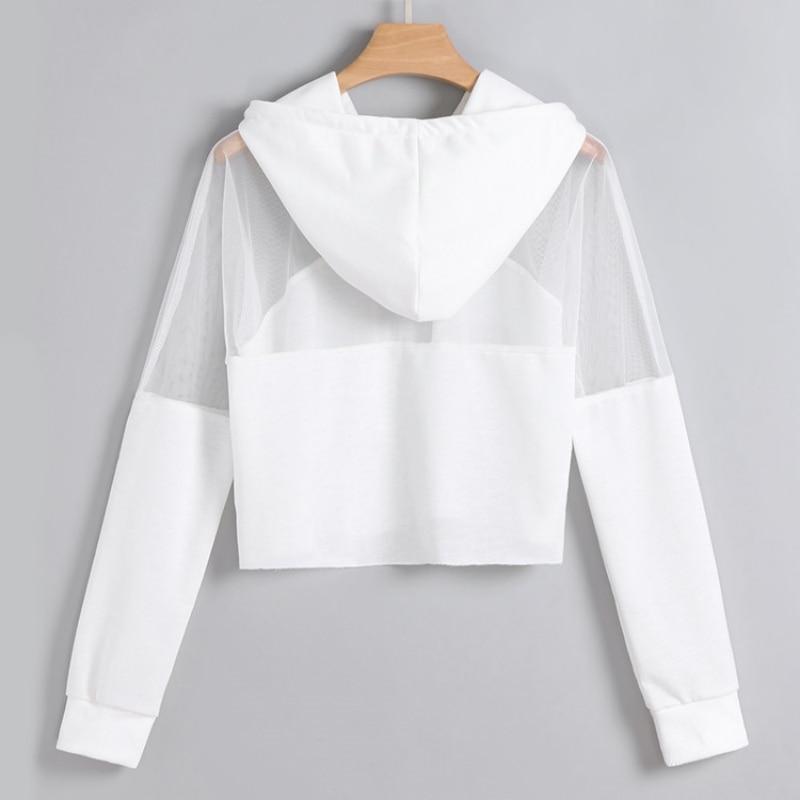Women Sweatshirt Sexy Mesh Hoodies Short Streetwear Harajuku Autumn Patchwork Hooded Tops Female Clothes