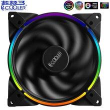 Pccooler RGB HALO 14cm bilgisayar kasası Fan ayarlamak 4PIN ve 3PIN RGB sessiz PWM fanlar 140mm işlemci soğutucu su soğutma değiştirin Fan