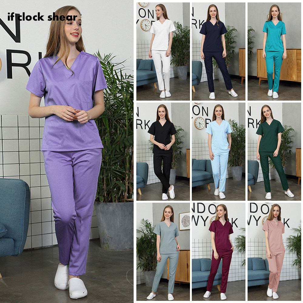 Pet Hospital Nurse Short-sleeved Uniform Suits Medical Doctor Sets Dental Clinic Beauty Salon Workwear Surgical Overalls Clothes